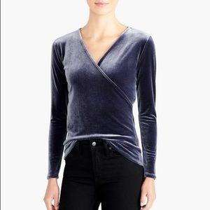 J Crew Mercantile blue velvet wrap blouse size M